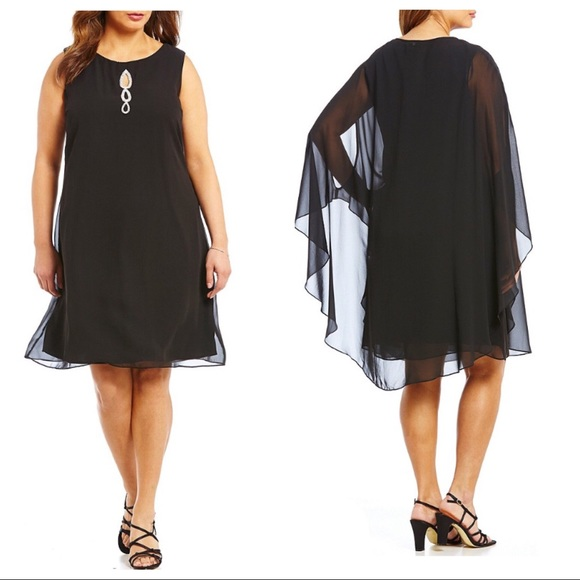 NWT S.L. Fashions Plus Size Dress with Sheer Cape NWT